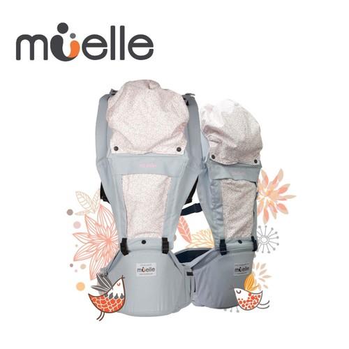 Muelle 坐墊式嬰兒腰凳背巾 灰色花園