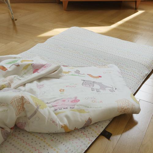 Kangaruru親膚抗菌防蹣寶貝毯 白色棉花糖牧場