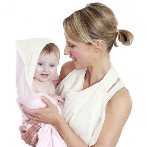 【出清】Cuddledry有機棉幼童浴巾/圍裙親子浴巾 粉紅色