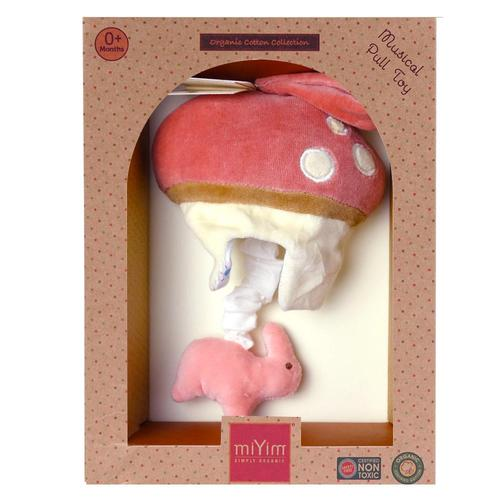 miYim有機棉音樂拉鈴 兔兔蘑菇