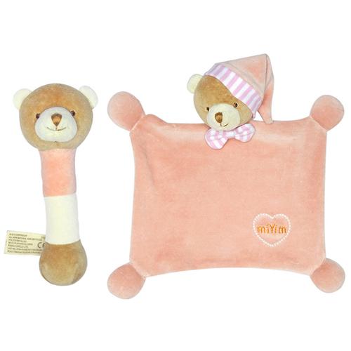 miYim有機棉晚安小熊禮盒 粉色 (安撫巾+手搖鈴)