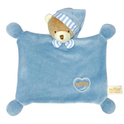 miYim有機棉晚安小熊禮盒 藍色 (安撫巾+手搖鈴)