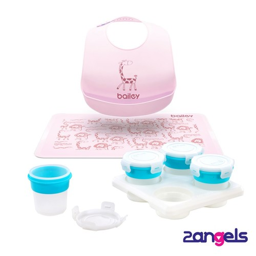 2angels副食品儲存杯120ml+BAILEY矽膠圍兜餐墊禮盒(粉)