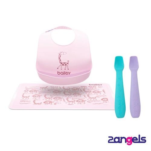 2angels矽膠餵食湯匙 + BAILEY圍兜餐墊禮盒(粉)