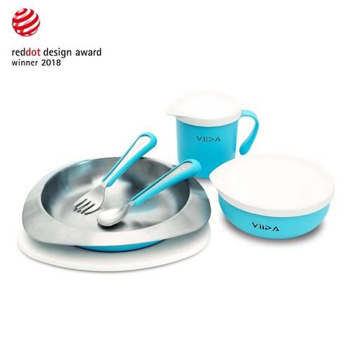 VIIDA Soufflé 抗菌不鏽鋼餐具組-寶貝藍