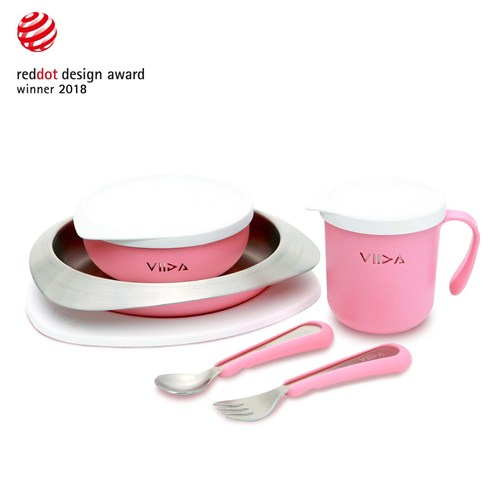 VIIDA Soufflé 抗菌不鏽鋼餐具組-甜心粉
