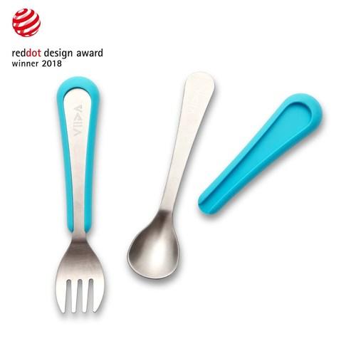 VIIDA Soufflé 抗菌不鏽鋼叉匙組 (S)-寶貝藍