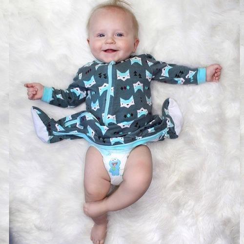 ZippyJamz有機棉寶寶拉鍊連身服 睡睡雲朵