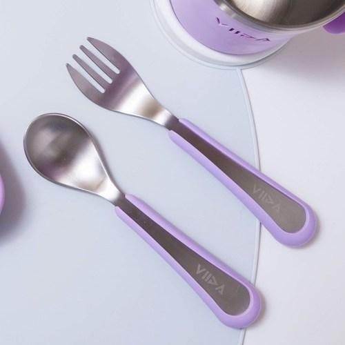 VIIDA Soufflé 抗菌不鏽鋼叉匙組 (L)-薰衣草紫