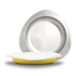 VIIDA Soufflé 抗菌不鏽鋼餐盤-萊姆黃