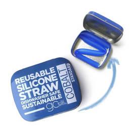 Silikids 果凍餐具 單支吸管隨行口袋組(20cm)大海藍
