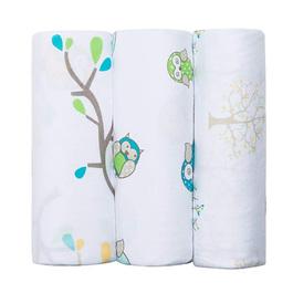 Bubble 天然竹纖維嬰兒包巾(三入禮盒)-貓頭鷹奧利