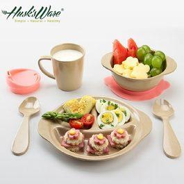 Husk's ware稻殼天然無毒環保兒童餐具組 微笑款
