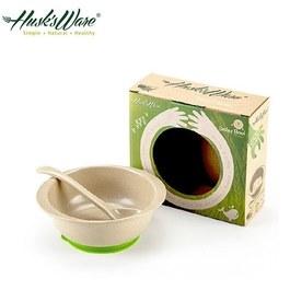 Husk's ware稻殼天然無毒環保兒童小餐碗(附小湯匙) 綠色