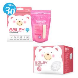 BAILEY感溫母乳儲存袋(基本型30入)+防溢乳墊(50入)