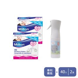 Milton米爾頓 消毒錠 40入 2盒+大象噴霧瓶 (188ml)