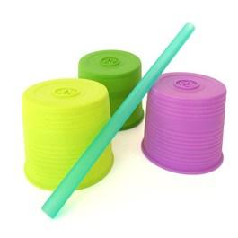 Silikids 果凍餐具 超彈力隨行吸管杯套三入組(嫩綠紫)
