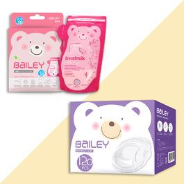 BAILEY感溫母乳儲存袋(壺嘴型30入)+防溢乳墊(120入)