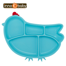 Innobaby 歡樂小雞矽膠防滑餐盤(水藍)
