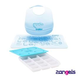 2angels副食品製冰盒+BAILEY矽膠圍兜餐墊禮盒(藍)