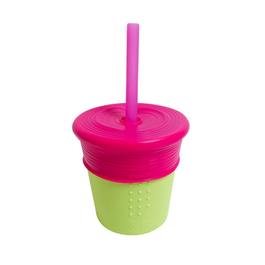 Silikids 果凍餐具 矽膠吸管杯組(桃紅)