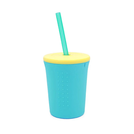 Silikids 果凍餐具 TOGO矽膠吸管杯組12oz(天空藍)