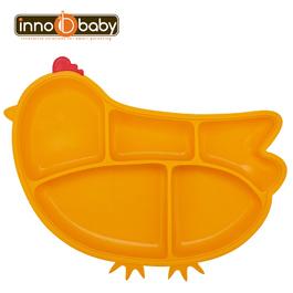 Innobaby 歡樂小雞矽膠防滑餐盤(橘黃)
