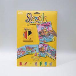 【出清】澳洲Flexcils 可彎曲蠟筆 繪圖套組 (7色蠟筆+4款圖紙) 交通工具款