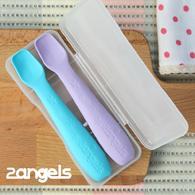 2angels 矽膠餵食湯匙 2入 附專用收納盒
