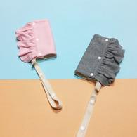 CLARECHEN 掰掰蝴蝶袖 有機荷葉背巾口水巾+防掉帶 灰色