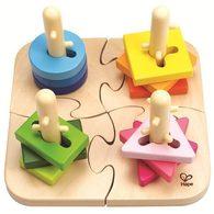 德國Hape愛傑卡 創意樁木幾何拼圖
