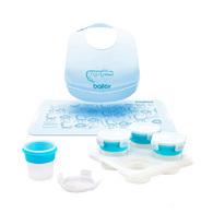 2angels副食品儲存杯120ml+BAILEY矽膠圍兜餐墊禮盒(藍)