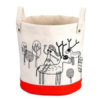 cindymode 圓型刺繡收納袋(小)-橘色麋鹿