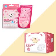 BAILEY感溫母乳儲存袋(壺嘴型30入)+防溢乳墊(50入)