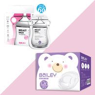 BAILEY感溫母乳儲存袋(指孔型60入)+防溢乳墊(120入)
