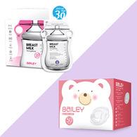 BAILEY感溫母乳儲存袋(指孔型30入)+防溢乳墊(50入)