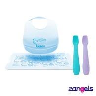 2angels矽膠餵食湯匙+BAILEY矽膠圍兜餐墊禮盒(藍)