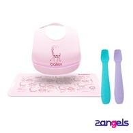 2angels矽膠餵食湯匙+BAILEY矽膠圍兜餐墊禮盒(粉)