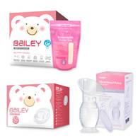 BAILEY感溫母乳儲存袋(基本型90入)+防溢乳墊(50入)+集乳器