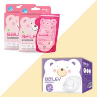 BAILEY感溫母乳儲存袋(壺嘴型30入)2盒+防溢乳墊(120入)