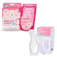 BAILEY感溫母乳儲存袋(壺嘴型30入)+集乳器