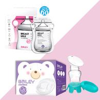 BAILEY感溫母乳儲存袋(指孔型60入)+防溢乳墊(120入)+集乳器