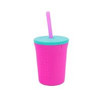 Silikids 果凍餐具 TOGO矽膠吸管杯組12oz(桃紅)