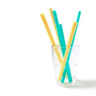 Silikids 果凍餐具 六入矽膠吸管組(三種尺寸)黃綠