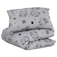 mezoome有機棉床組(枕頭套+被套) 銀河灰