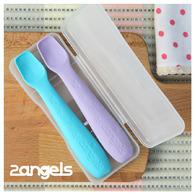 2angels矽膠餵食湯匙 (2入/組 - 附收納盒)